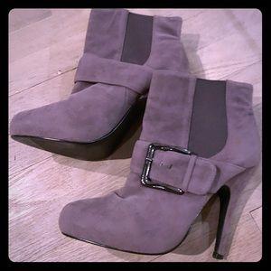 Gray ankle booties heels